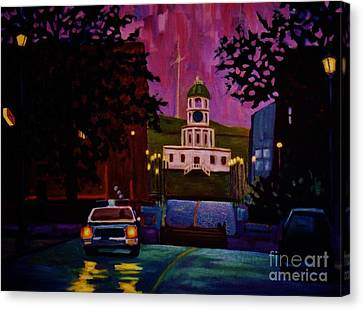 Halifax Night Patrol And Town Clock Canvas Print by John Malone