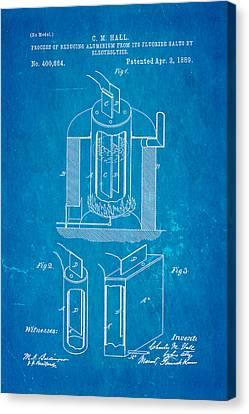 Hall Aluminium Production Patent Art 1889 Blueprint Canvas Print by Ian Monk