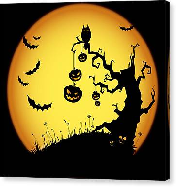 Halloween Haunted Tree Canvas Print by Gianfranco Weiss