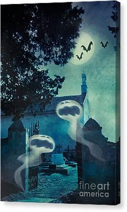 Halloween Illustration With Evil Spirits Canvas Print by Mythja  Photography