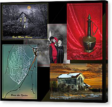 Halloween Melody Collage Canvas Print by Judy  Johnson