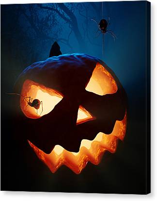 Halloween Pumpkin And Spiders Canvas Print by Johan Swanepoel