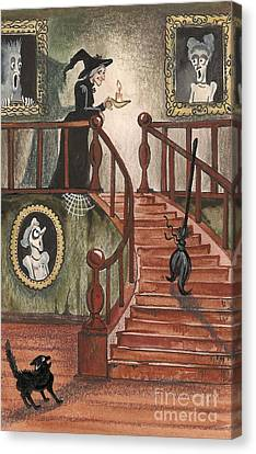 Halloween Witch Canvas Print by Margaryta Yermolayeva