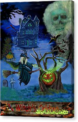 Halloween Witch's Coldron Canvas Print by Glenn Holbrook