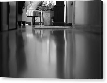 Hallway Reflections Black And White Canvas Print by Dan Sproul
