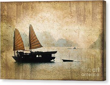 Halong Bay Vintage Canvas Print by Delphimages Photo Creations
