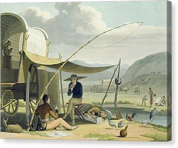 Halt Of A Boors Family, Plate 17 Canvas Print by Samuel Daniell