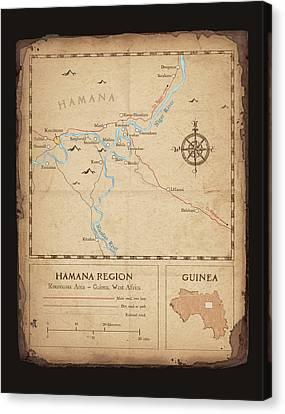 Hamana Region Map Canvas Print by Dave Kobrenski
