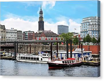 Hamburg, Germany, Tour Boats Docked Canvas Print by Miva Stock