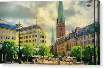Hamburg Street Scene Canvas Print by Jeff Kolker