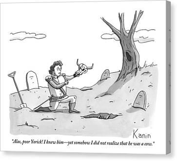 Hamlet Kneels In The Graveyard Holding The Skull Canvas Print by Zachary Kanin