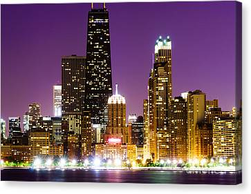 Hancock Building At Night In Chicago Canvas Print by Paul Velgos
