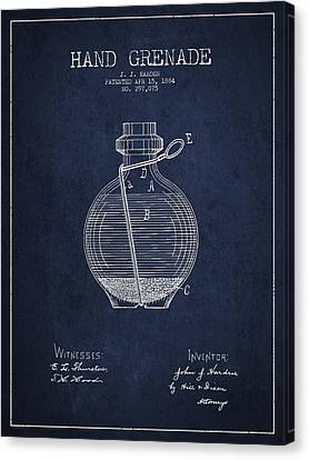 Hand Grenade Patent Drawing From 1884 Canvas Print by Aged Pixel