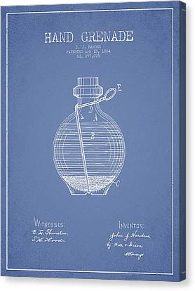 Hand Grenade Patent Drawing From 1884 - Light Blue Canvas Print by Aged Pixel