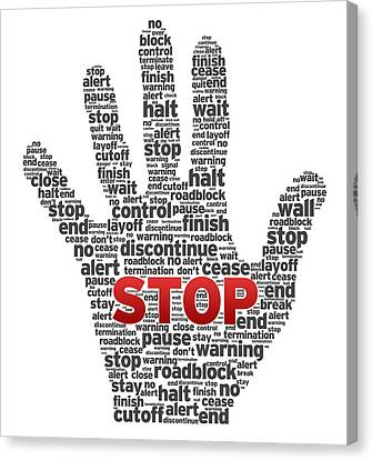 Hand With Words Canvas Print by Aged Pixel