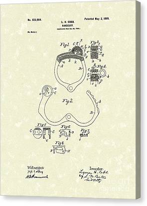 Handcuff 1899 Patent Art Canvas Print by Prior Art Design