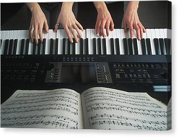 Hands On Keyboard Canvas Print by Kelly Redinger