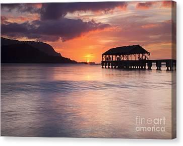 Hanelei Pier Sunset Canvas Print by Mike Dawson