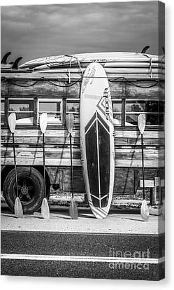 Hang Ten - Vintage Woodie Surf Bus - Florida - Black And White Canvas Print by Ian Monk