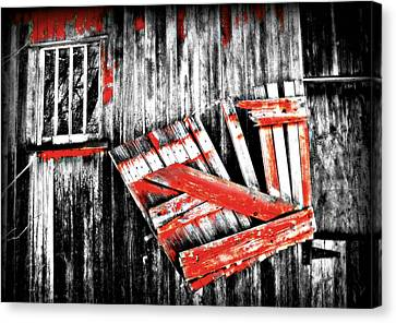 Hanging By A Few Nails Bw Canvas Print by Julie Hamilton
