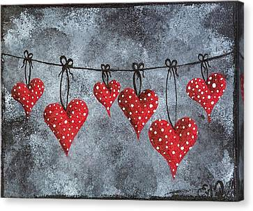 Hanging On To Love Canvas Print by Oddball Art Co by Lizzy Love