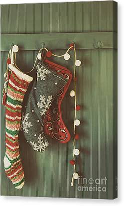 Hanging Stockings Ready For Christmas Canvas Print by Sandra Cunningham