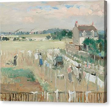 Hanging The Laundry Out To Dry Canvas Print by Berthe Morisot