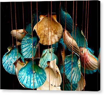 Hanging Together - Sea Shell Wind Chime Canvas Print by Steven Milner