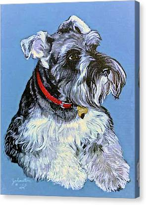 Hans The Schnauzer Original Painting Forsale Canvas Print by Bob and Nadine Johnston