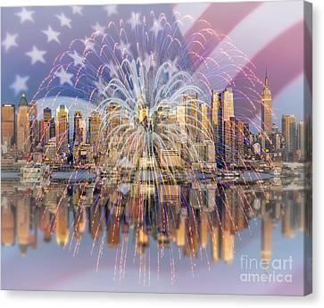 Happy Birthday America Canvas Print by Susan Candelario