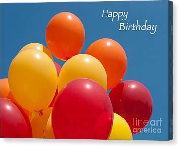Happy Birthday Balloons Canvas Print by Ann Horn