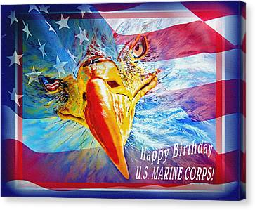 Happy Birthday Marine Corps Canvas Print by Donna Proctor