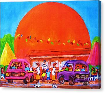 Happy Days At The Big  Orange Canvas Print by Carole Spandau