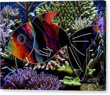 Fish In The Reef Canvas Print by Marvin Blaine