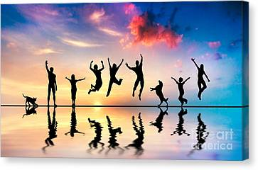 Happy Friends Family With Dog And Cat Jumping At Sunset Canvas Print by Michal Bednarek