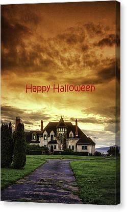 Happy Halloween Fiery Castle Canvas Print by Eti Reid