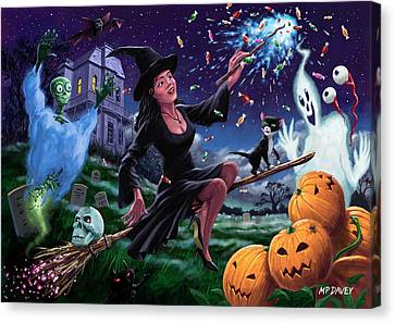 Happy Halloween Witch With Graveyard Friends Canvas Print by Martin Davey