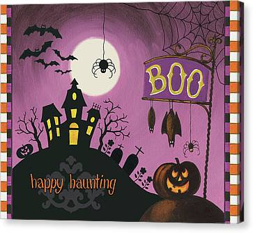Happy Haunting Boo Canvas Print by Lisa Audit
