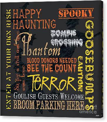 Happy Haunting Canvas Print by Debbie DeWitt