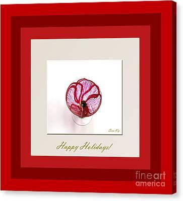 Happy Holidays. Red Poppy Canvas Print by Oksana Semenchenko