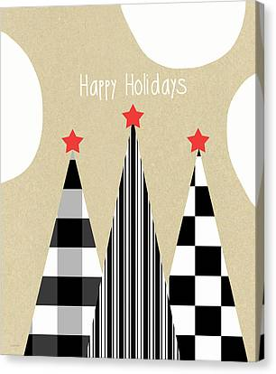 Happy Holidays With Black And White Trees Canvas Print by Linda Woods