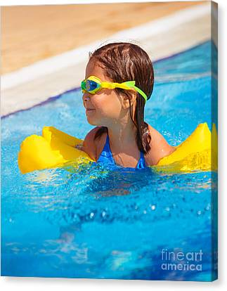 Happy Little Girl In The Pool Canvas Print by Anna Omelchenko