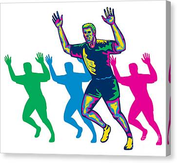 Happy Marathon Runner Running Retro Canvas Print by Aloysius Patrimonio