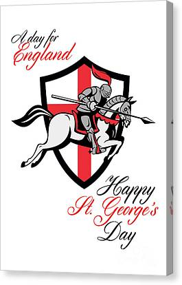 Happy St George Day A Day For England Retro Poster Canvas Print by Aloysius Patrimonio