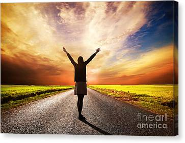 Happy Woman Standing On Long Road At Sunset Canvas Print by Michal Bednarek