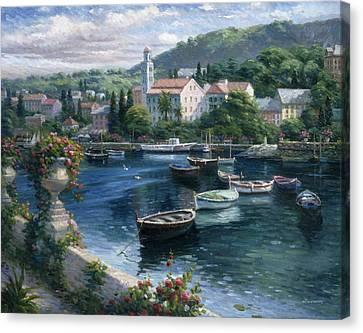 Harbor Boats Canvas Print by Ghambaro