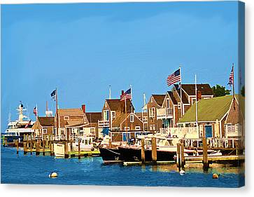 Harbor In Nantucket Canvas Print by Bob Sandler