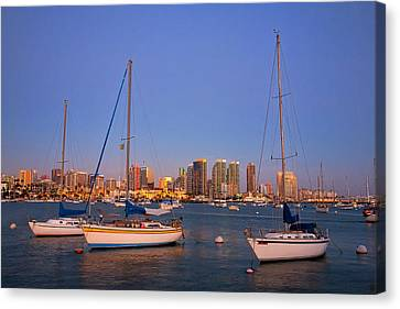 Harbor Sailboats Canvas Print by Peter Tellone