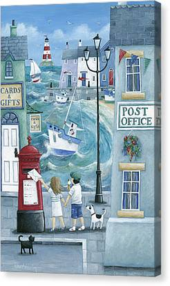 Harbour Post Canvas Print by Peter Adderley