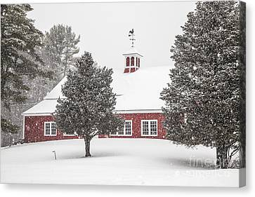 Harding Road Red Barn In The Snow Canvas Print by Benjamin Williamson